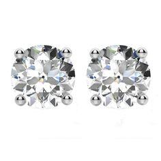 6d3f2308b 4.00 carats tw. Old European Cut Moissanite Four Prong Stud Earrings 14k  White Gold