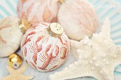 Coastal Themed Christmas Ornaments - Mod Podge Lobsters and Starfish Ornaments