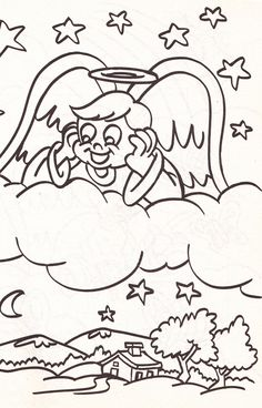 from an Angel's coloring book - boy angel looking down on the earth from the clouds