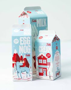 Not only do I love Egg Nog, but I'd love to have that packaging in my fridge come winter. Fields Packaging by Luke Klenske, via Behance.