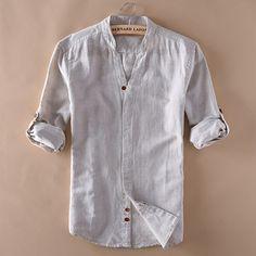 Vintage Men's Casual Cotton Linen Shirts V-Neck Long Sleeve Coats Jacket Clothes