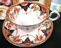 GROSVENOR TEA CUP AND SAUCER IMARI COBALT BLUE TEACUP PATTERN PAINTED in Antiques, Decorative Arts, Ceramics & Porcelain | eBay