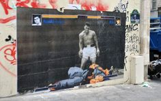Muhammad Ali Beats the Crap out of Ryu [street art]
