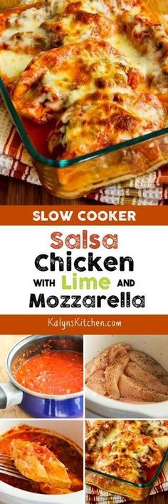 The Whole Family will love this Slow Cooker Salsa Chicken with LIme and Melted Mozzarella and this easy recipe is low-carb, gluten-free, Keto, and South Beach Diet friendly! [found on KalynsKitchen.com]