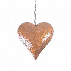 Large Copper Coloured Mosaic Mirror Heart Hanging Garden Ornament #garden #ornament #heart Garden Ornaments, Hanging Ornaments, Copper Color, How To Make Ornaments, Hanger, Mosaic, Wedding Decorations, Just For You, Ceiling Lights