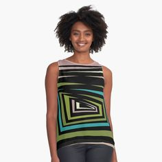 Chiffon Tops, Athletic Tank Tops, Abstract, Printed, Awesome, Fashion Design, Color, Black, Women