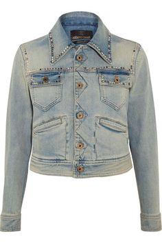 Roberto Cavalli | Embroidered studded denim jacket | NET-A-PORTER.COM