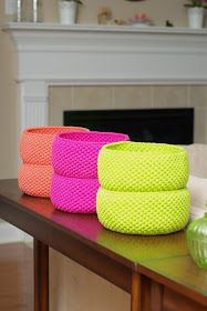 Crochet baskets-- single crochet 2 or 3 strands of 100% cotton yarn for stability. Increase to desired size then use same number of stitches to make straight sides.