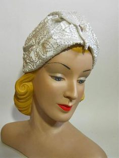 White Satin Turban Style Hat with Gem at Peak circa 1940s - Dorothea's Closet Vintage