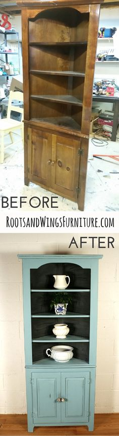 Before and After of a corner hutch refinished in Provence Chalk Paint and Sealed with Flat out Flat topcoat. Back painted in chalkboard paint. Refinished by Jenni of Roots & Wings Furniture