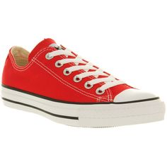 Converse All Star Low ($65) ❤ liked on Polyvore featuring shoes, sneakers, converse, sapatos, red canvas, star sneakers, star shoes, low shoes, red shoes and canvas footwear