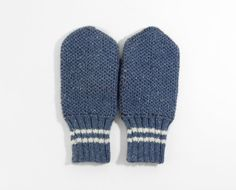 Hand Knitted Mittens  Blue Size Large by UnlimitedCraftworks