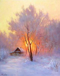 Pastel Landscape, Winter Landscape, Watercolor Landscape, Landscape Art, Landscape Paintings, Watercolor Art, Winter Painting, Winter Art, Painting Art