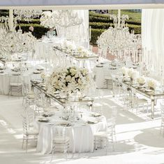 Stunning wedding centerpieces by white lilac inc. See more beautiful wedding i. Purple And Silver Wedding, All White Wedding, Elegant Wedding, Outdoor Wedding Decorations, Wedding Themes, Wedding Venues, Wedding Ideas, Wedding Goals, Wedding Arrangements