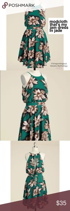 """That's My Jam Dress in Jade Adorable vibrant green floral sundress with a tied open back and high neck. Back exposed gold zipper. Fully lined. Fabric is 100% polyester. Length is 37"""", bust is 19"""" laid flat, waist is 14.75"""" laid flat. Brand new, never even tried on. Modcloth Dresses"""