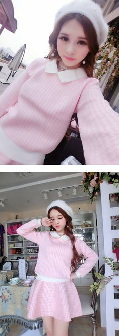 Korean fashion ladies long-sleeved Houndstooth waist was thin knit sweater piece suit skirt sweet woman - Taobao global Station