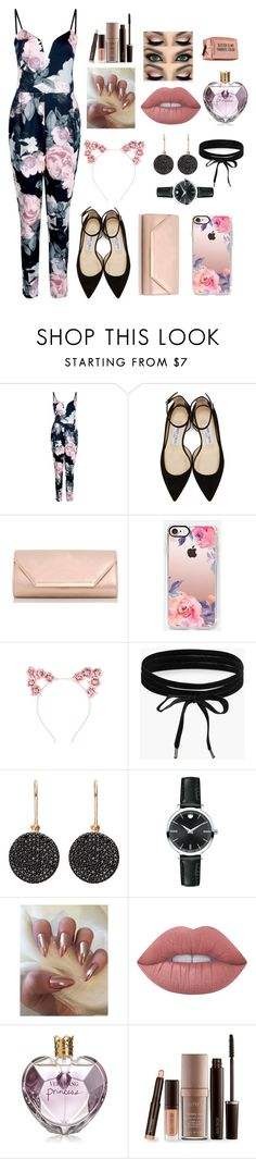 """""""Floral"""" by queenshaima ❤ liked on Polyvore featuring Boohoo, Jimmy Choo, Dorothy Perkins, Casetify, Astley Clarke, Movado, Lime Crime, Vera Wang, Laura Mercier and Pinch Provisions"""