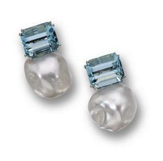 Donna Vock - Pair of baroque cultured pearl and aquamarine earclips. Composed of 2 baroque keshi pearls measuring by mm., surmounted by emerald-cut aquamarines weighing approximately carats, mounted in 18 karat white gold, signed DVock. Aquamarine Earrings, Diamond Earrings, Emerald Cut Aquamarine Ring, Simple Earrings, Beautiful Earrings, Pearl Jewelry, Fine Jewelry, Jewelry Accessories, Jewelry Design