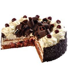 Schwarzwald dort Smetanová pohádka z nadýchaného čokoládového piškotu s višňovým srdcem, luxusním šlehačkovým krémem, bohatě zdobený čokoládovými hoblinkami a višněmi