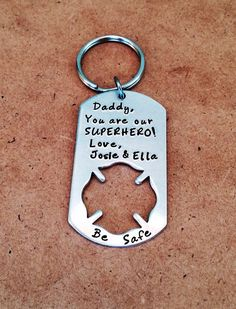 Firefighter - Father's Day Keychain - Customized with two or three names on Etsy, $18.00