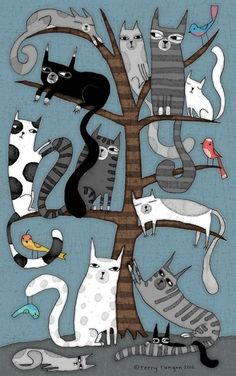 'CAT TREE' Metal Print by Terry Runyan - illustrations that inspire me - Cats Cool Cats, I Love Cats, Crazy Cats, Art Fantaisiste, Cat Quilt, Cat Tree, Cat Drawing, Drawings Of Cats, House Drawing