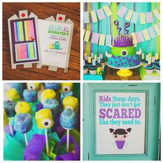 Kara's Party Ideas Monsters Inc Birthday Party Monster University Birthday, Monster Inc Party, Monster Birthday Parties, 2nd Birthday Parties, Birthday Ideas, Cute Happy Birthday, Baby Boy 1st Birthday, Third Birthday, Monsters Inc Invitations