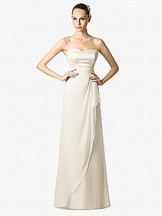 Strapless Column Style Chiffon and Satin Wedding Dress with Overlay - USD $129.99