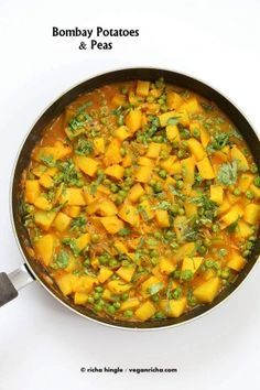 Vegan Bombay potatoes and Peas Recipe. Ready in 30 minutes. Aloo Matar. Add greens, use sweet potato for variation. Vegan Glutenfree Indian Recipe. Easy Potato Pea Curry.