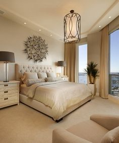 Serene in Cream, soothing neutral backdrop, tufted upholstered bed