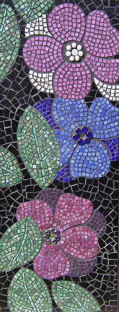 100 x 40cm on cement fibre board vitreous glass, mirror, glass gems, glass  I did this panel directly after the other one, or maybe it was the other way round.  I wanted to contrast the little squares of vitreous with more haphazard cuts of the background.