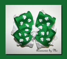 #Shamrocks Green & White Ruffle Hair Bow #St. Patrick's Day