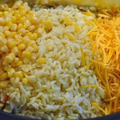 Creamy, cheesy chicken and rice is so easy when you make it in the crockpot! This dish with corn and seasoned rice is sure to warm the family.