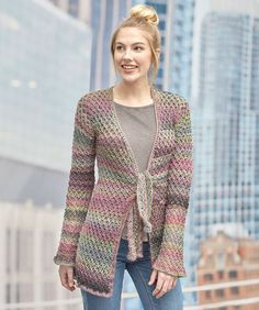 Tie-Front Lover's Knot Jacket By Rosa Shand - Free Crochet Pattern - (redheart)