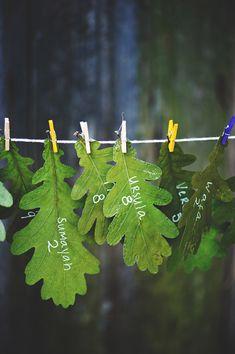 Natural oak leaf escort cards for an eco-chic autumn wedding Forest Wedding, Woodland Wedding, Autumn Wedding, Green Wedding, Rustic Wedding, Woodland Theme, Wedding Cards, Wedding Invitations, Theme Nature