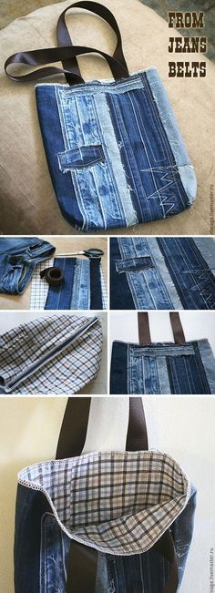 how to sew a stylish bag from old jeans. DIY Tutorial http://www.free-tutorial.net/2017/04/bag-from-old-jeans.html