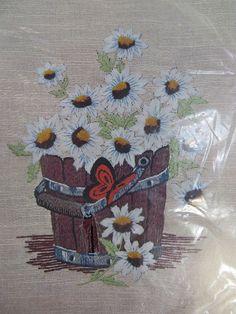 Crewel Creative Stitchery kit 1975 Bucket Full of Daisies Homespun 9x12 woolyarn #VogartCrafts