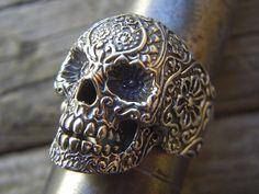 SALE...Large sugar skull ring in sterling silver