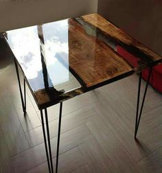 Items similar to Coffee / lunch table made with Pera wood and high quality transparent epoxy resin on Etsy Live Edge Furniture, Resin Furniture, Log Furniture, Furniture Makeover, Furniture Design, Epoxy Resin Table, Wood Resin, Interior Design Layout, Live Edge Table
