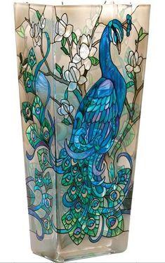 "Joan Baker ""Peacock"" Hand Painted Art Glass Vase / http://www.whimseyhollowgifts.com/testproduct5-1.aspx?MMP=101Q1TACBUN"