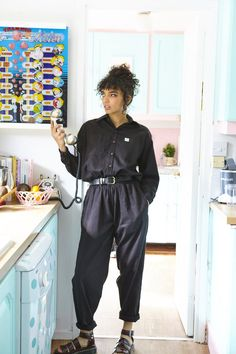 'Frankie' Oversized Organic Boilersuit in Black 'Frankie' Oversized Organic Boilersuit in Black Grunge-chic: The one-piece was grungy in style, a boiler suit with its baggy fit, utility styling, boilersuit Hipster Outfits, Grunge Outfits, Grunge Shoes, Mode Outfits, Grunge Fashion, Black Outfits, Stylish Outfits, Summer Outfits, Dungaree Dress