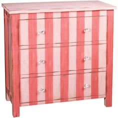 Pink stripe chest of drawers