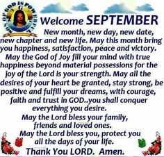 Welcome ##September Blessings #NewMonth Welcome September, Ego Quotes, Joy Of The Lord, New Month, True Happiness, New Chapter, New Life, New Day, Blessings