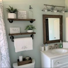 mirror shelves toilet paper box farmhouse bathroom decor ideas olathe custom furniture store - Tidy up your toiletries with this floating shelf and towel bar set. The sturdy bathroom floating shelves provide storage in a rustic, yet cozy, farmho. Wooden Wall Shelves, Wood Floating Shelves, Industrial Pipe Shelves, Mirror Shelves, Wall Wood, Industrial Farmhouse Decor, Diy Pipe Shelves, Ladder Shelves, Decorative Shelves