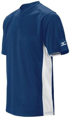 Mizuno Men's 2 Button Color Block Short Sleeve Baseball Jersey, Navy , XX-Large by Mizuno. $24.90. Amazon.com                The Mizuno 2 Button Color Block Jersey is a basic, durable baseball jersey that's ideal for screen-printing team uniforms. It's made of rugged 100% MzO microfiber polyester, and features a D.F. cut designed specifically for the types of motions baseball players make over the course of a game. The jersey has a straight hem bottom and texture...