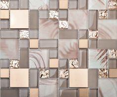 Stainless steel tile backsplash kitchen glass tiles glass mosaic bathroom tiles - modern - bathroom tile - other metro - My Building Shop Stainless Backsplash, Beadboard Backsplash, Herringbone Backsplash, Kitchen Backsplash, Kitchen Mosaic, Backsplash Cheap, Backsplash Marble, Hexagon Backsplash, Glass Kitchen