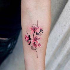 Cherry blossoms on the left inner forearm.