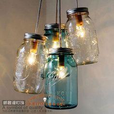Online Shop Handcrafted Mason Jar Chandelier Modern Industrial lamp Ocean Sapphire Chandelier Bell Jar chandelier Middle Ages chandelier|Aliexpress Mobile