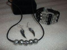Necklace, Earrings & Bracelet Handmade Ster. Sil. Overlay .925 Beads | eBay