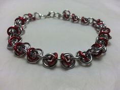 Red and Silver RSD Chainmaille Bracelet by WyndstarCreations, $10.00