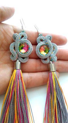Soutache earrings handmade jewellery original gift for Handmade Jewellery, Earrings Handmade, Bangle Bracelets With Charms, Bangles, Soutache Earrings, Drop Earrings, Shibori, Tassels, Jewelry Making